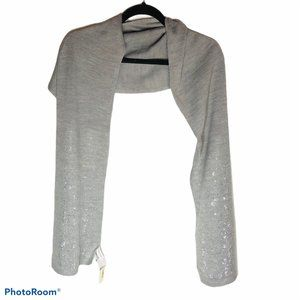 Calvin Klein scarf gray embelished silver knit new